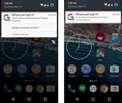 android notification connexion google appareil