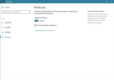 windows 10 mode jeu