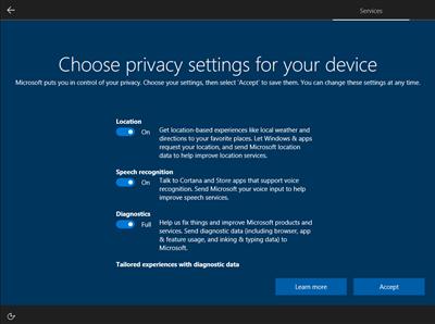 Windows 10 oobe vie privée compte