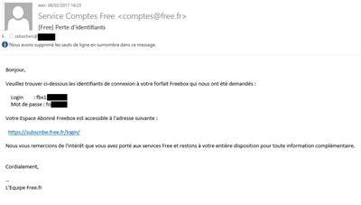 Free mot de passe perdu mail