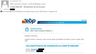EBP mot de passe perdu mail
