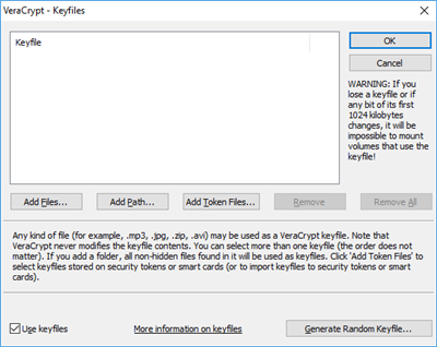 VeraCrypt Fichiers clef