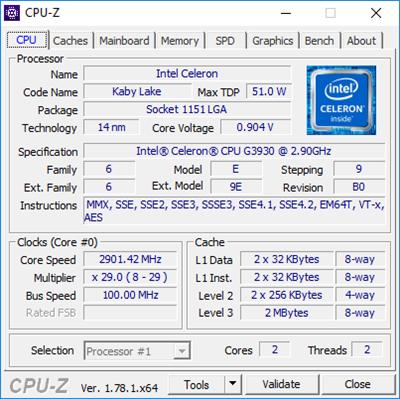 Celeron G3930 CPU-Z Full