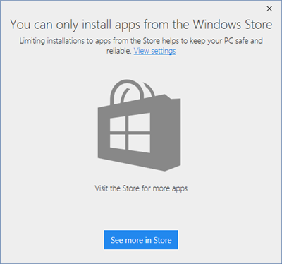 Windows 10 blocage apps store