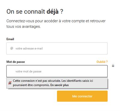 message d'alerte lors de connexion par mot de passe sur site HTTP (vs HTTPS) avec Firefox