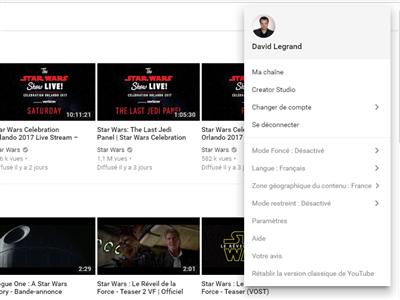 YouTube Foncé