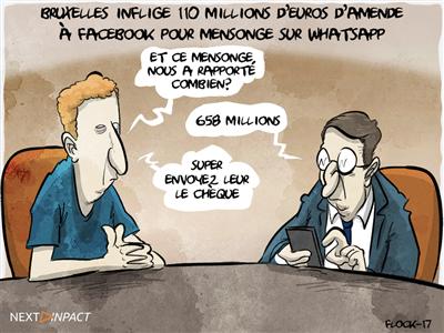 Bruxelles inflige 110 millions d'euros d'amende à Facebook pour mensonge sur WhatsApp