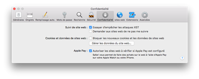 Safari macOS High Sierra Blocage des traceurs
