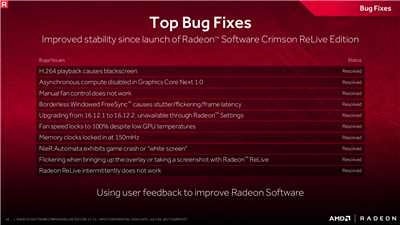 AMD Radeon Crimson Relive 17.7.2 Performances
