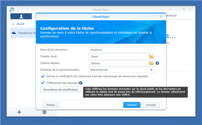 Synology Cloud Sync Chiffrement