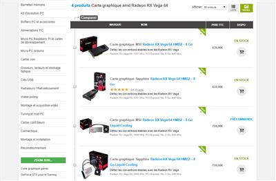 Radeon RX Vega Tarifs Materiel.net