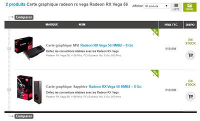 Radeon RX Vega 56 Tarifs