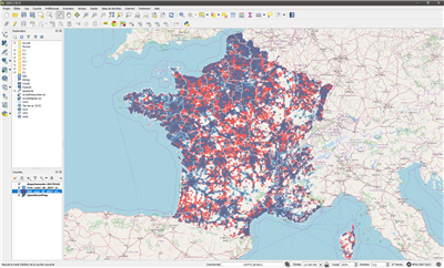 QGis Superposition SFR Free 4G France