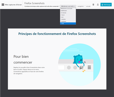 Firefox Screenshots - Modification du délai