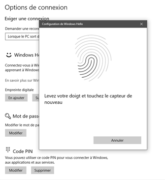 Windows Hello Empreintes