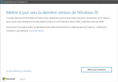 Mise à jour Windows 10 Fal Creators Update
