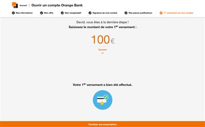 Orange Bank 1er Versement