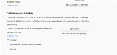 Firefox 57 Protection contre le pistage