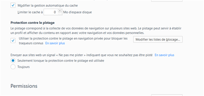 Firefox 56 Protection contre le pistage