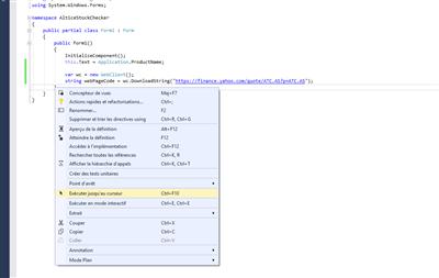 Visual Studio C# Récupération Valeur