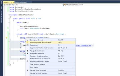 Visual Studio C# Méthode