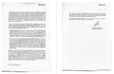 lettre microsoft défense
