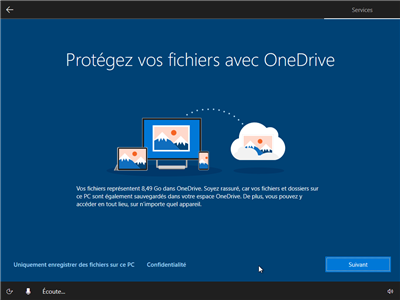 Windows 10 OOBE configuration initiale
