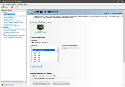 NVIDIA panneau de configuration