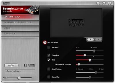 Creative panneau contrôle Sound Blaster