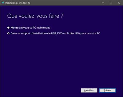 Windows téléchargement USB outil