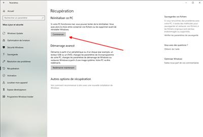 Windows 10 réinitialisation