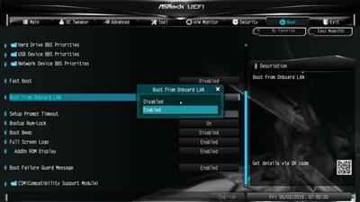 BIOS UEFI Boot PXE ASRock