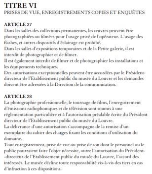 règlement musée du louvre