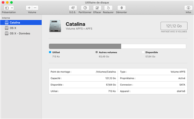 macOS Catalina APFS création volume