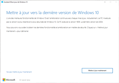 Windows 10 Mai 2020 2004 Mise à jour