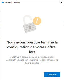 OneDrive Coffre-fort Initialisation