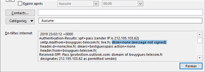 DKIM Fail Bouygues