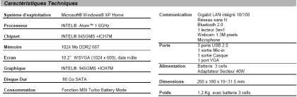 MSI Wind U100 caractéristiques techniques