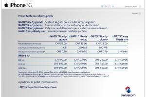 Swisscom iPhone 3G tarifs suisse