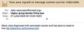 spam santé Steve Jobs