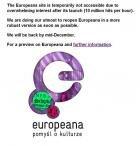 europeana page d'accueil lancement saturation