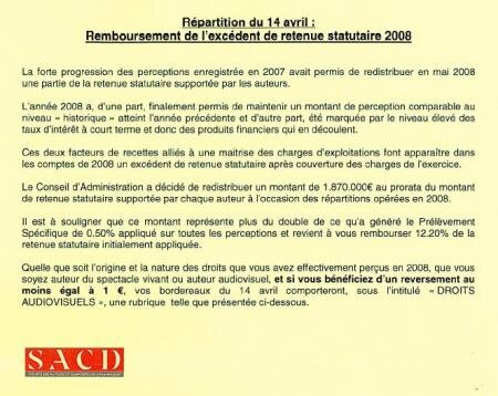 SACD document avril 2009 perceptions excédent