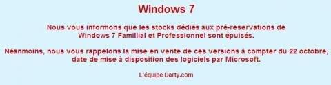 Windows 7 précommandes Darty