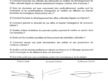 HADOPI 3 Zelnick ministère culture questions