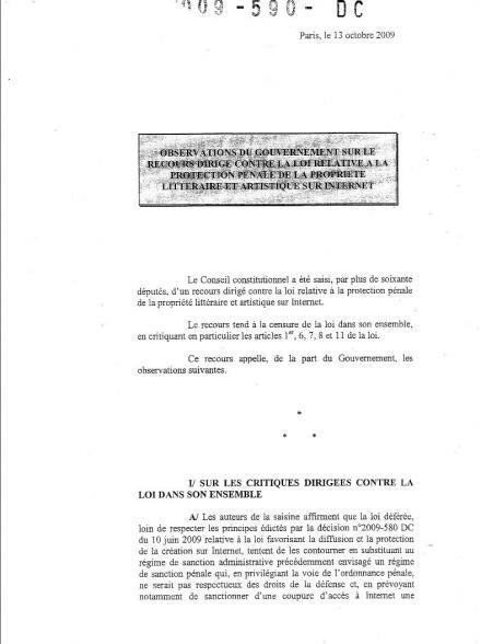 observation gouvernement conseil constitutionnel