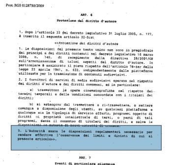 décret législatif italie video internet