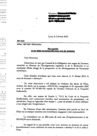 avocat lettre menace idenum.fr etat NKM