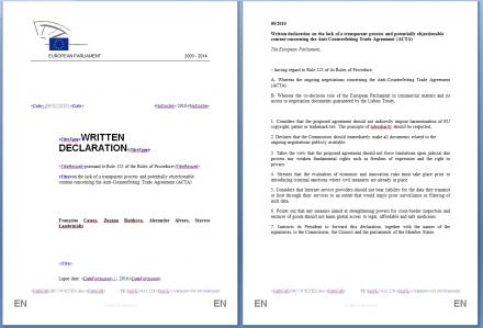 déclaration écrite députés europés ACTA