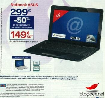 eee pc asus 1005ha promo carrefour
