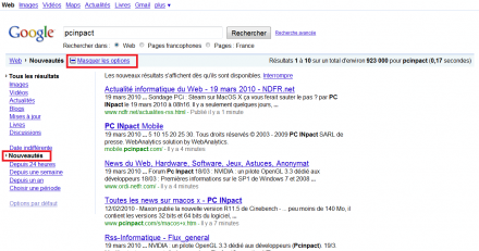 google recherche temps réel indexation monde